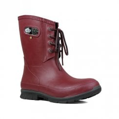 Bogs - Amanda Plush Burgundy Mid Lace Wellies