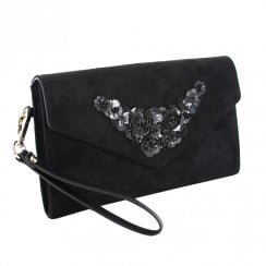 Menbur Flower Detailing Black Occasions Clutch Bag - 084507