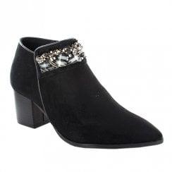 Menbur Shio Wooden Block Heel Ankle Boots - Black