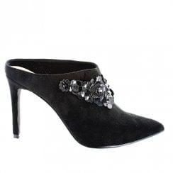 Menbur Marling Stiletto Slip On Pointed Closed Toe Mules - Black