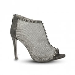 Una Healy Mr Vain Mesh Studded Peep Toe Stiletto Sandals - Pewter