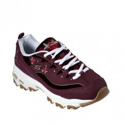Skechers Womens D'Lites Rose Blooms Sneakers - Burgundy