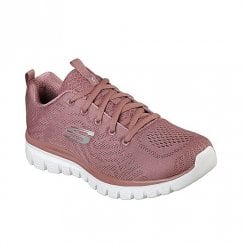 Skechers Womens Graceful Get Connected Knit Mesh Sneakers - Rose