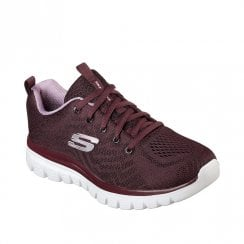 Skechers Womens Graceful Get Connected Knit Mesh Sneakers - Burgundy