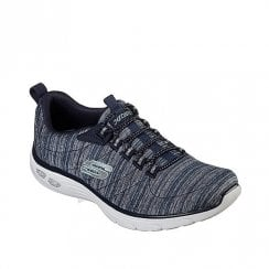 Skechers Womens Relaxed Fit Empire D'Lux Casual Walking Sneakers - Navy