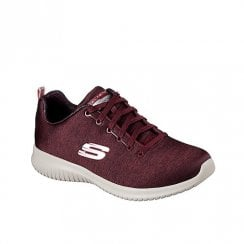 Skechers Womens Ultra Flex First Choice Casual Jersey Sneakers - Burgundy