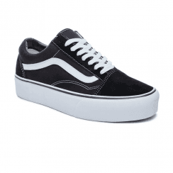 Vans Womens Old Skool Platform Low Top Shoes - Black/White
