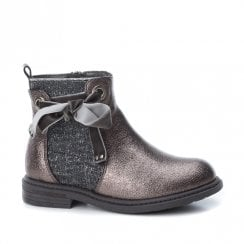 XTI Girls Pewter Metallic Ribbon Ankle Boots