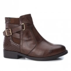 XTI Girls Biker Style Ankle Boots - Brown