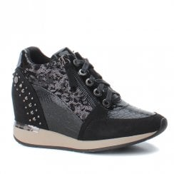 XTI Womens Hidden Wedge Lace Up Shoes - Black