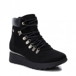 XTI Womens Low Platform Track Style Boots - Black