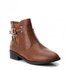 XTI Girls Western Style Ankle Boots - Camel Tan