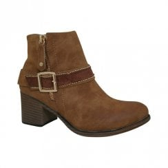 Escape Womens Nancy Heeled Ankle Boots - Fudge Tan