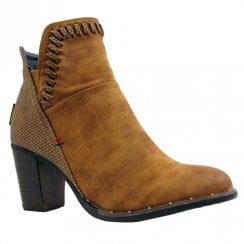 Escape Womens Maia Distressed Heeled Ankle Boots - Fudge Tan