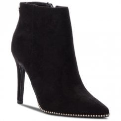 XTI Womens Suede Decorative Edges Stiletto Ankle Boots - Black