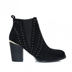 Escape Womens Seward Block Heel Studded Ankle Boots - Black