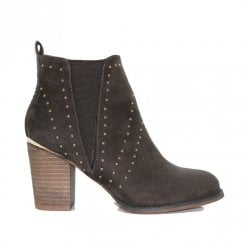 Escape Womens Seward Block Heel Studded Ankle Boots - Olive