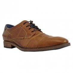 Escape Mens Panoramic Smart Lace Up Leather Shoes - Brandy