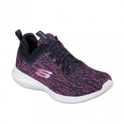 Skechers Girls Ultra Flex Bright Horizon Mesh Trainers - Navy/Pink