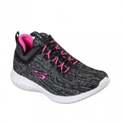 Skechers Girls Ultra Flex Bright Horizon Mesh Trainers - Black/Hot Pink
