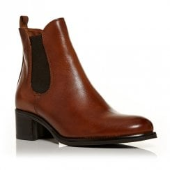 Moda In Pelle Colina Tan Leather Chelsea Ankle Boots