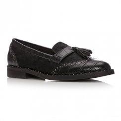 Moda In Pelle Elaster Black Calf Hair Loafer Shoes