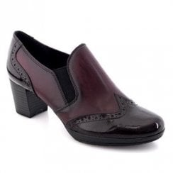 Marco Tozzi Heeled Oxford Burgundy Leather Boots