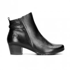 Marco Tozzi Low Heeled Leather Ankle Boots – Black