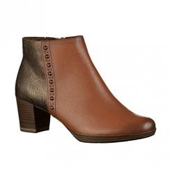 Marco Tozzi Block Heeled Leather Ankle Boots – Cognac