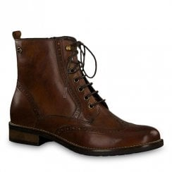 Tamaris Womens Cairo Muscat Brown Lace Up Ankle Boots