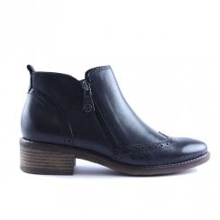 Tamaris Womens Joudy Anthracite Leather Flat Ankle Boots