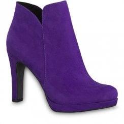 Tamaris Purple Violet Funnel Heel Ankle Boots