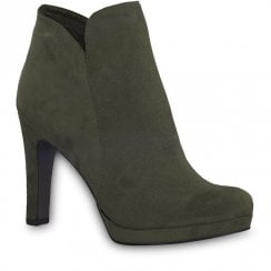 Tamaris Green Olive Funnel Heel Ankle Boots