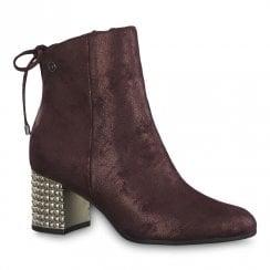 Tamaris Lorelai Merlot Glam Mid Heeled Ankle Boots