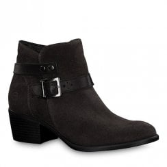 Tamaris Dark Grey Leather Low Block Heel Ankle Boots