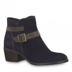 Tamaris Becka Navy Leather Low Block Heel Ankle Boots