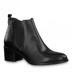 Tamaris Pauletta Black Leather Low Block Heel Ankle Boots