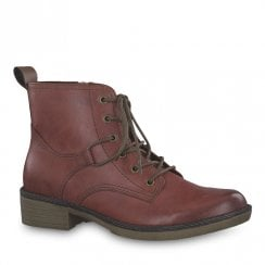 Tamaris Hayden Sangria Burgundy Ankle Lace Up Boots