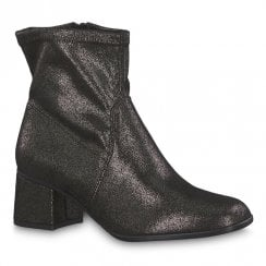 Tamaris Norea Pewter Low Block Heel Ankle Boots