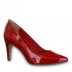 Tamaris Seagull Chili Red High Heeled Pointed Court Shoes