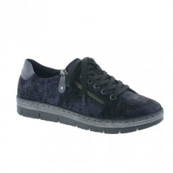 Remonte D5800 Ladies Leather Shimmer Trainers - Blue