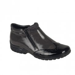 Rieker L4696 Ladies Flat Ankle Boots - Black/Grey