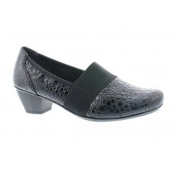 Rieker 41786 Kame Ladies Slip On Style Low Heel Shoes - Black