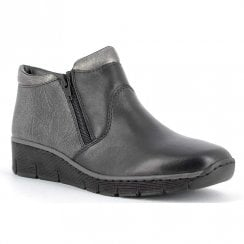 Rieker 537K3 Ladies Ankle Flat Boots - Black