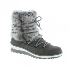 Remonte R4381 Ladies Flat Mid Calf Faux Fur Boots - Grey