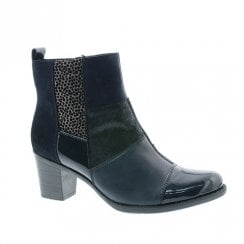 Rieker Ladies Zip Mid Block Heel Ankle Boots - navy