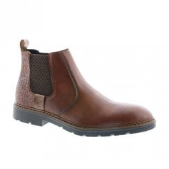 Rieker F3553 Mens Wide Fit Pull On Chelsea Ankle Boots - Brown