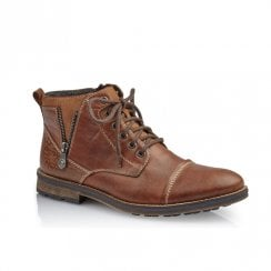 Rieker F5512 Mens Leather Toe Cap Lace Up Chukka Boots - Tan