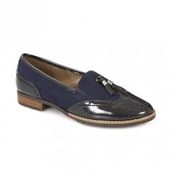 Soft Line Womens Navy Flat Brogue Loafers Shoes