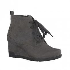 Soft Line Womens Grey Combat Lace Up Wedge Boots